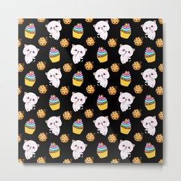 Cute happy funny Kawaii baby kittens, yummy colorful cupcakes and chocolate chip cookies cartoon black pattern design. Nursery decor ideas.  Metal Print