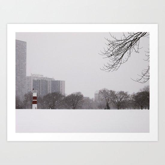 Wintery Chicago Art Print