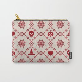 Halloween Dark Bloody Red Pattern Skull, Pumpkin and Witch's Hat on Vintage Paper Background Carry-All Pouch