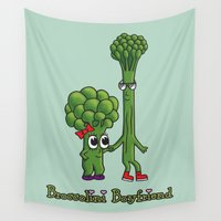 boyfriend Wall Tapestries featuring Broccolini Boyfriend by khalan