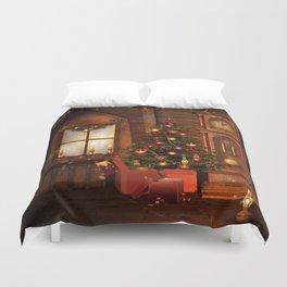 Old Christmas Room Duvet Cover