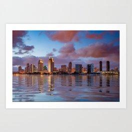 City skyline of San Diego at sunset Art Print