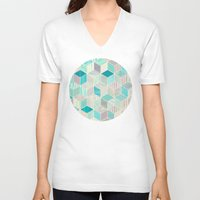 bedding V-neck T-shirts featuring Vacation Patchwork by micklyn
