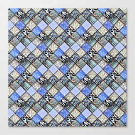 Faux Patchwork Quilting - Blues Canvas Print