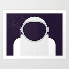 Astronaut is listening music Art Print