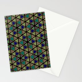 Gold Foil Triangular Hexagon Peacock Blue on Black Stationery Cards