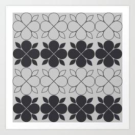 Black and Grey Flower Tile Art Print