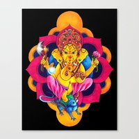 ganesh Canvas Prints featuring Ganesh by missfortunetattoo