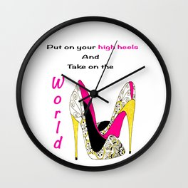 Girl Power Quote High Heels Wall Clock