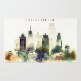 Philadelphia Pennsylvania Watercolor Skyline Rug