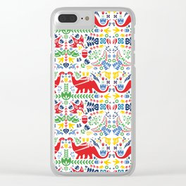 Swedish Folk Art Dinosaurs Clear iPhone Case