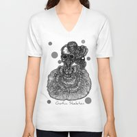 gothic V-neck T-shirts featuring Gothic Skeleton by AKIKO