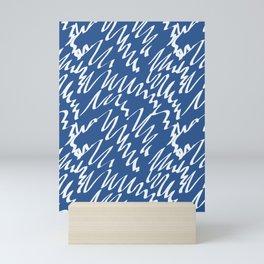 Navy scribble pattern abstract Mini Art Print