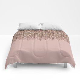 Blush Pink Rose Gold Bronze Cascading Glitter Comforters