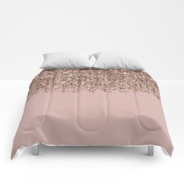 Blush Pink Rose Gold Bronze Cascading Glitter Comforters