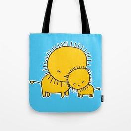 Lion Hug Tote Bag