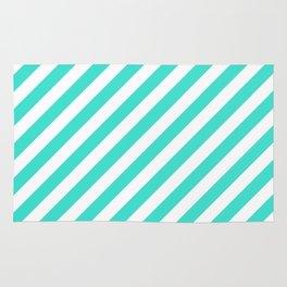 Diagonal Stripes (Turquoise/White) Rug