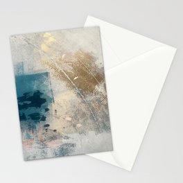 Embrace: a minimal, abstract mixed-media piece in blues and gold with a hint of pink Stationery Cards