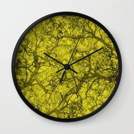 Lemon Yellow Hunting Camo Pattern Wall Clock
