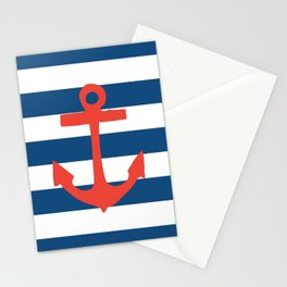 Red Nautical Stripe Stationery Cards