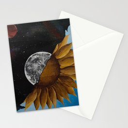 Space And Sunflowers Stationery Cards