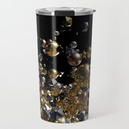 Elegant Abstract Geometry Explosion -Gold and Silver,Black- Travel Mug