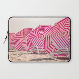 Row of beach chairs and umbrellas in the sand Laptop Sleeve