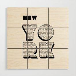 New York in writing Wood Wall Art
