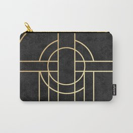 Art Deco Black Marble Carry-All Pouch