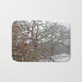 Winter berries and snow Bath Mat