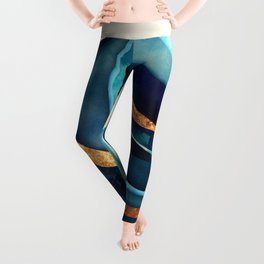 Abstract Blue with Gold Leggings