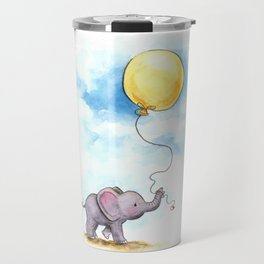 Baby elephant  with yellow balloon Travel Mug
