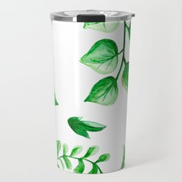 Watercolour Ferns And Vines Leafy Green Continuous Pattern Travel Mug