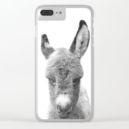 Black and White Baby Donkey Clear iPhone Case