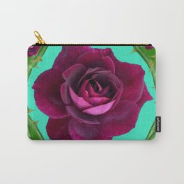 VELVETY DARK RED ROSE GREEN CANES ART Carry-All Pouch