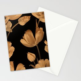 Beautiful spring gold flowers tulips pattern Stationery Cards