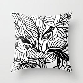 White Black Floral Minimalist Throw Pillow
