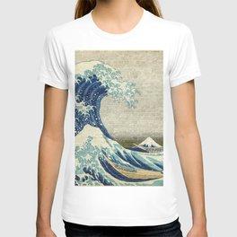 Brick Wall Painting Japanese Great Wave off Kanagawa - Urban Artist T-shirt