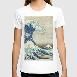 Brick Wall Painting Japanese Great Wave off Kanagawa - Urban Artist T-shirt