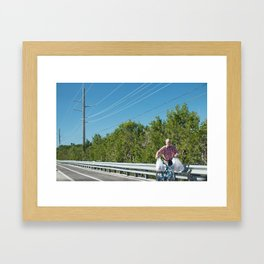 Bloke with Bicycle Carrying Shopping in Key West Framed Art Print