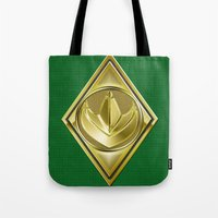 power ranger Tote Bags featuring Green Ranger by Joshua Epling