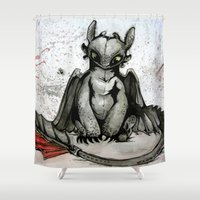 hiccup Shower Curtains featuring Toothless by artbyteesa