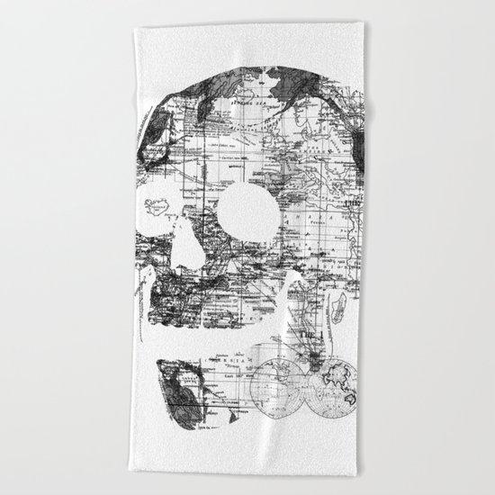 Skull Wanderlust Black and White Beach Towel