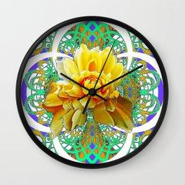 BEAUTIFUL LACY GREEN ART  & YELLOW ROSE DESIGN Wall Clock