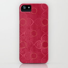 Abstract Art Deco Distressed Geometric Red Flowers with Golden Yellow Circles iPhone Case