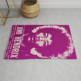 1969 Jimi Hendrix Concert Handbill Poster, Will Rogers Colosseum, Ft. Worth, Texas Rug