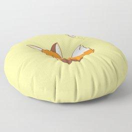 Cute Little Fox Watching Butterly Floor Pillow