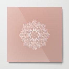 Mandala Flower in Ash Pink Metal Print