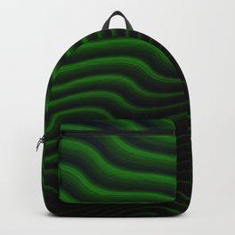Black and Green Wave Stripes Backpack