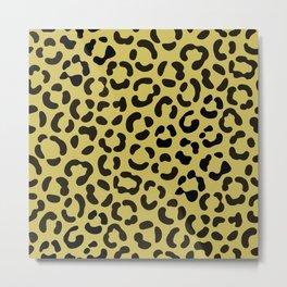 Trendy Black on Faux Gold Leopard Print Pattern Metal Print